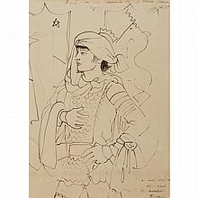 COCTEAU, JEAN Dessin pour Les Chevaliers de la Table Ronde. Pen and ink drawing on paper (a sheet imprinted with the logo of the Caf...