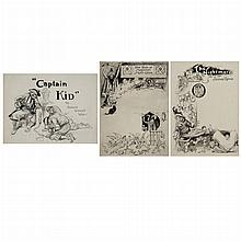 [ILLUSTRATION ART] BIRCH, REGINALD BATHURST. Group of three fine pen and ink illustrations for cover or title designs, inclu...