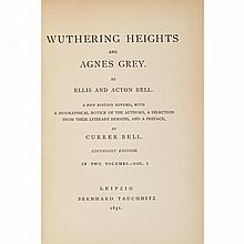BRONTE, CHARLOTTE, EMILY & ANNE [ACTON & ELLIS BELL]. Wuthering Heights and Agnes Grey. Leipzig: Bernhard Tauchnitz, 1851. Cop...