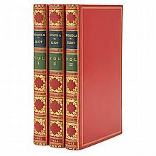 ELIOT, GEORGE Romola. London: Smith, Elder and Co., 1863. First edition. Three volumes. Full red morocco gilt by Bayntun, th...