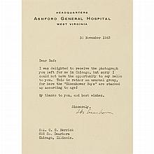 EISENHOWER, DWIGHT D. Typed letter signed