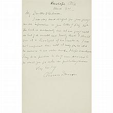 DARROW, CLARENCE Autograph letter signed. Fairhope, Alabama: 3 March [1927]. One-page autograph letter signed