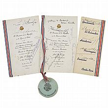 KENNEDY, JOHN FITZGERALD Signature of Kennedy and several Central American Presidents and Officials on event menus collected du...