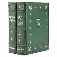 HEMINGWAY, ERNEST The Sun Also Rise [and] Winner Take Nothing, 1926 & 1926, finely bound in matching full green morocco gilt...