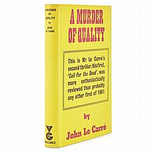 LE CARRE, JOHN A Murder of Quality. London:  Gollancz, 1962. First edition, first printing. Publisher's cloth, in original....