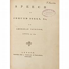 [AMERICAN REVOLUTION - ENGLAND] BURKE, EDMUND. The Speech of Edmund Burke, Esq; On Moving His Resolutions for Conciliation with...