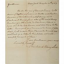 LEE, RICHARD HENRY Autograph letter granting land warrants to three Virginia Revolutionary War veterans. New York: 30 May 17...