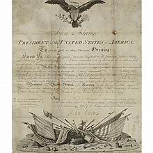 ADAMS, JOHN Document Signed. [Philadelphia:] 22 July 1797. Engraved document on vellum with two large vignettes accomplished...