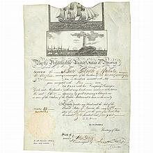 ADAMS, JOHN QUINCY Ship's passport signed. Washington: 21 April 1826. Engraved document on vellum with two maritime vignette...