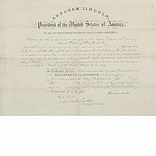 LINCOLN, ABRAHAM Document signed appointing Samuel W. Brown Receiver of Public Money in the Washington Territory. Washington...