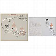[ILLUSTRATION ART] HIRSCHFELD, AL. Two framed ink drawings, each with self portrait and family, the first  ink with added co...