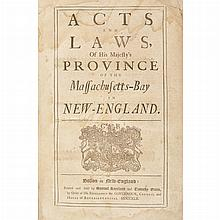 [MASSACHUSETTS-BAY COLONY] Acts and Laws, of His Majesty's Province of the Massachusetts-Bay in New-England. Boston: Samuel...