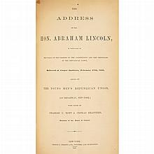 [LINCOLN, ABRAHAM - CIVIL WAR ERA PAMPHLETS] The Address of the Hon. Abraham Lincoln, in Vindication of the Policy of the Frame...