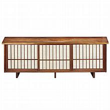 George Nakashima Japanese/American, 1905-1990 Triple Sliding Door Cabinet