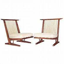 George Nakashima Japanese/American, 1905-1990 Pair of Conoid Cushion Chairs, 1985   Black walnut, hickory and u...