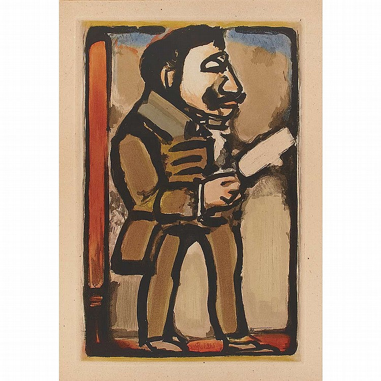 Georges Rouault PROFESSOR PLIEU Color aquatint