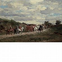Jean Louis Ernest Meissonier French, 1815-1891 Deux Carosses, 1856   Signed JLEMeissonier with monogrammed f...