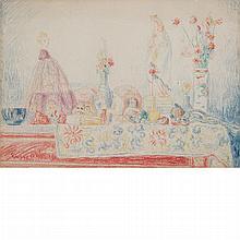 James Ensor Belgian, 1860-1949 Vierge et Mondaine, circa 1933   Signed Ensor (ll) Pastel on paper ...