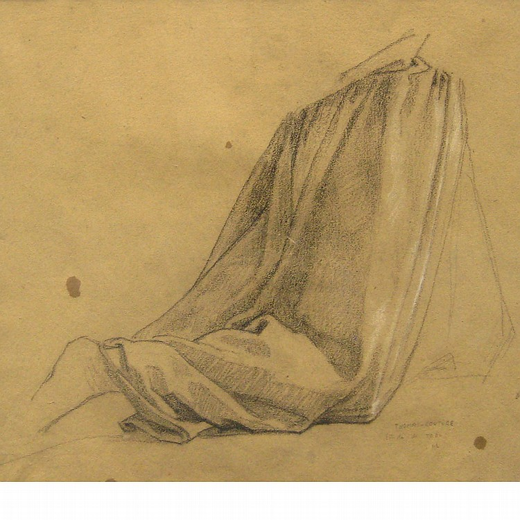 Thomas Couture French, 1815-1879 Study for a Kneeling Figure   Inscribed Thomas-Couture / Etude de robe / BC...