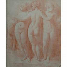 Camillo Boccaccino Cremonese, 1501-1546 The Three Graces   Inscribed in brown ink m 65 (lr); also bearing fa...