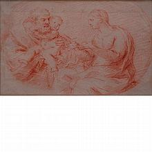 Italian School 18th Century The Holy Family; Together with Dutch School, 17th/18th Century, A Man Saddling a Horse