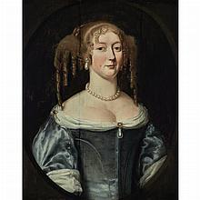 English School 17th Century Lady in a Blue Dress