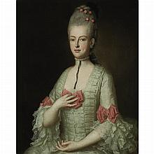 French School 18th Century Portrait of a Lady Wearing a Pearl Necklace