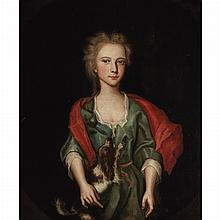 Anglo-Flemish School 17th/18th Century A Girl with her Pet Spaniel