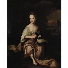 Attributed to Sir Godfrey Kneller Portrait of a Young Lady in Antique Dress in a Landscape, with a Dove and an Olive Branch