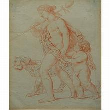 French School 17th/18th Century A Maenad Carrying a Thyrsus, Accompanied by a Leopard and a Young Boy