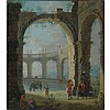 Manner of Johannes Lingelbach Figures within a Crumbling Arcade