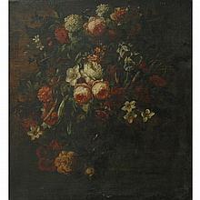 School of Gaspar Pieter Verbruggen Still Life of Flowers on a Ledge