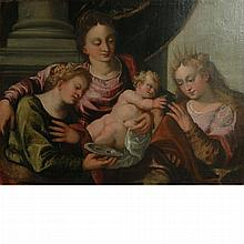 Follower of Paolo Veronese The Mystic Marriage of St. Catherine, with St. Lucy