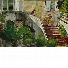 Andrew George Winter American, 1893-1958 Lady on Steps and Ladies on the Steps: Two, 1937