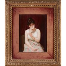 KPM Painted Porcelain Plaque of a Maiden