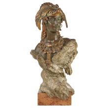 Austrian Cold Painted Bronze Bust of the Amazon Queen   After a model by Carl Kauba, first quarter of the 20th century Mod...