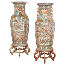 Pair of Chinese Rose Medallion Porcelain Floor Vases