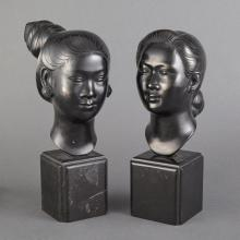 Pair of Japanese Bronze Geisha Heads