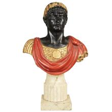 Italian Carved, Gilt and Polychrome Decorated Bust of Caesar