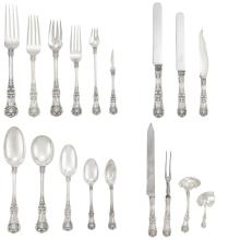 Tiffany Sterling Silver Flatware Service; Together with a Sterling Silver Salad Set; And a Mahogany Fitted Table