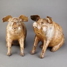 Companion Pair of Painted Terra Cotta Figures of Pigs