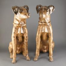 Pair of Painted Terra Cotta Figures of Dogs