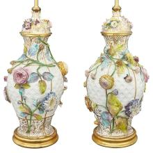 Pair of Continental Gilt and Polychrome Decorated Porcelain Lamps