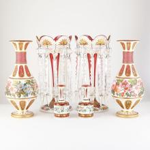 Group of Bohemian Style Gilt and Polychrome Decorated Overlay Glass Articles