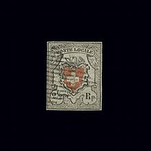 Switzerland Federal issue 1850 2 1/2 Rp. Black and Red Without Frame Around Cross Scott 4, Zumstein 14 11  Fresh and attract...