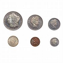 United States 1892 Type Set of Six Coins