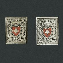 Switzerland Orts-Post 1850 2 1/2 Rp. Types 1 and 2