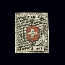 Switzerland Transitional Period 1851 5 Cent Black and Red Scott 2L7,