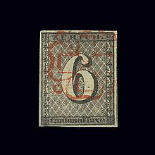 Switzerland Canton of Zurich 1843 6 Rp. Black Scott 1L4, Zumstein 2W