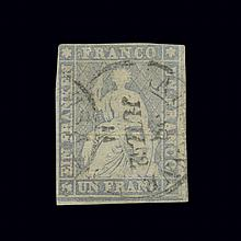 Switzerland 1855 to 1857 Helvetia 1 Fr. STRUBEL Gray Thin Paper Scott 31a, Zumstein 27E